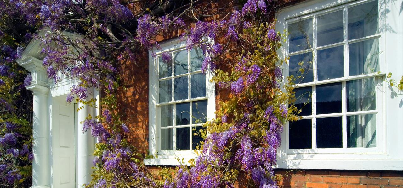 Home interior with sash windows